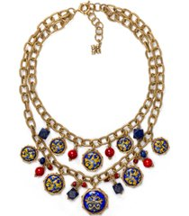 "patricia nash gold-tone bead & charm layered necklace, 18"" + 2"" extender"