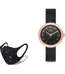 reloj hasir rose black  fashion mask con cristales toms