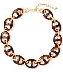 """kate spade new york gold-tone tortoise-look linked necklace, 22"""" + 3"""" extender"""