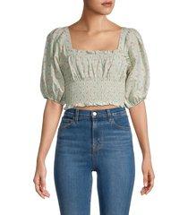 hemant & nandita women's floral cotton cropped top - mint - size l