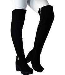 botas en microfibra extralarga tacón 5 y medio  outfit sicilia negro
