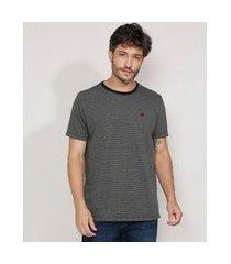 camiseta masculina manga curta maquinetada gola careca cinza mescla escuro