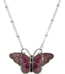 2028 women's silver tone purple and black enamel butterfly necklace