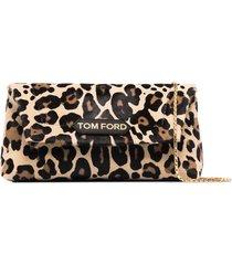 tom ford small label leopard-print shoulder bag - black