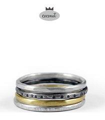 pierścionek texture - 4 obrączki srebro t4