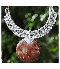 coconut shell and leather statement necklace, 'rustic moon in grey' (thailand)