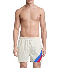 solid and striped men's the classic striped swim shorts - white stripe - size l