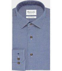 michaelis / wit birdseye shirt van blauw