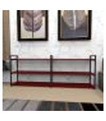 estante industrial aço preto 180x30x68cm (c)x(l)x(a) mdf vermelho modelo ind32vrest
