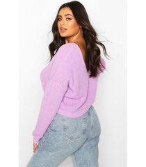 plus v-back crop sweater, lilac