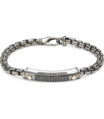 effy men's black rhodium-plated silver, 14k yellow gold & black spinel bracelet