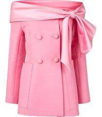 dice kayek off the shoulder blazer - pink