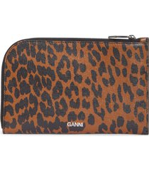 ganni print leather pouch - brown