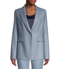 lafayette 148 new york women's heather one-button blazer - blue dusk - size 4