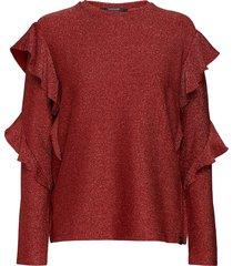 long sleeves lurex top with ruffles blouse lange mouwen rood scotch & soda
