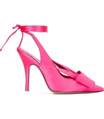 the attico ankle-tie pointed heels - pink