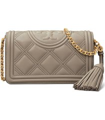 women's tory burch fleming quilted leather wallet on a chain - grey