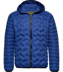 down radar mix quilt jacket doorgestikte jas blauw superdry
