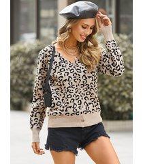 botón de leopardo marrón diseño suéter de manga larga con cuello en v