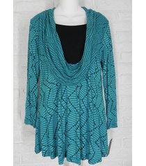 yushi tunic shirt cowl neck faux cami striped teal black nwt small xlarge