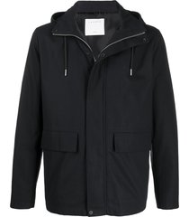 sandro paris high-collar hooded jacket - blue