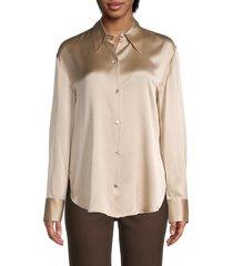 vince women's collared silk blouse - sand dollar - size xl