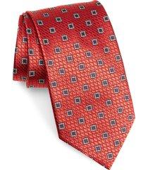 men's ermenegildo zegna medallion silk tie, size large - red