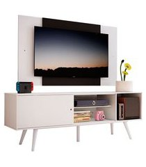 rack madesa cairo e painel para tv até 58 polegadas com pés de madeira branco/preto 09c7 mdes02001809c7