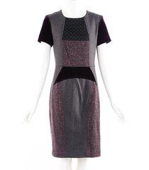 etro gray purple velvet tweed wool sheath dress gray/purple sz: m