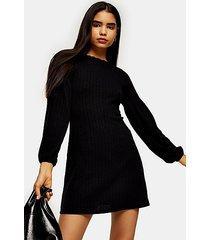 black cut and sew balloon mini dress - black