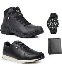 coturno masculino + sapatênis macio + carteira + relógio - masculino