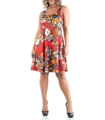 24seven comfort apparel women's plus size floral sleeveless dress