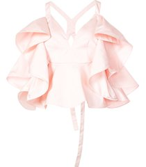 rosie assoulin fluted-ruffle cross-back top - pink