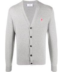 ami logo embroidered cardigan - grey