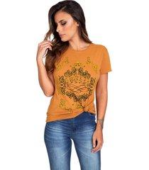 t-shirt draw guess - dourado - feminino - dafiti