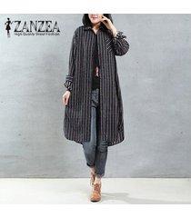 zanzea mujeres otoño solapa cuello botones camisa larga blusa casual bordado retro algodón lino vestido suelto top s-5xl negro -negro