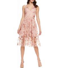 women's dress the population ally 3d floral mesh cocktail dress
