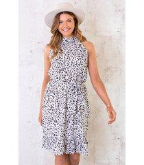 halter jurk met panterprint ecru