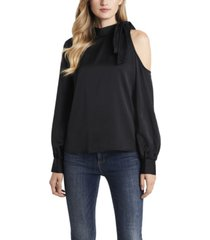 vince camuto women's petite long sleeve cold shoulder tie neck blouse