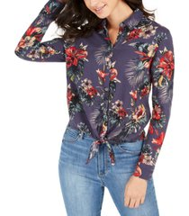 roxy juniors' suburb vibes tie-front shirt