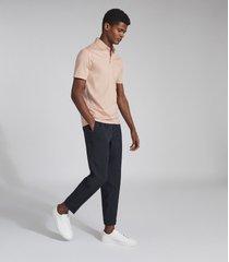 reiss elliot - mercerised egyptian cotton polo shirt in soft pink, mens, size xxl