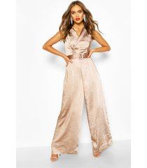 boohoo occasion satin double breasted jumpsuit, taupe