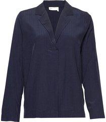 louisiw v-blouse blouse lange mouwen blauw inwear