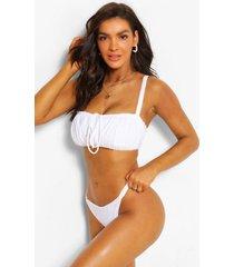 fuller bust ruched bandeau bikini top, white
