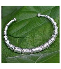 sterling silver cuff bracelet, 'ribbon twist' (thailand)