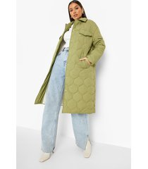 gewatteerde long line jas met ruitvormige stiksels, khaki