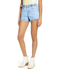 women's blanknyc the barrow buckle high waist denim shorts