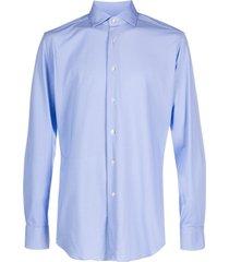 xacus cutaway collar patterned shirt - blue