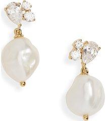 women's nadri chloe cubic zirconia & cultured pearl drop earrings