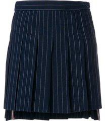 thom browne chalk stripe pleated mini skirt - blue